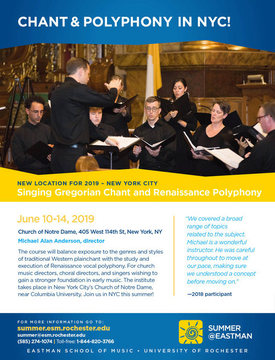 Summer@Eastman: Singing Gregorian Chant and Renaissance Polyphony - New York City