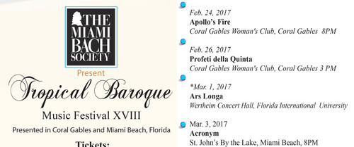 The Miami Beach Society Tropical Baroque Music Festival Season 2016-2017