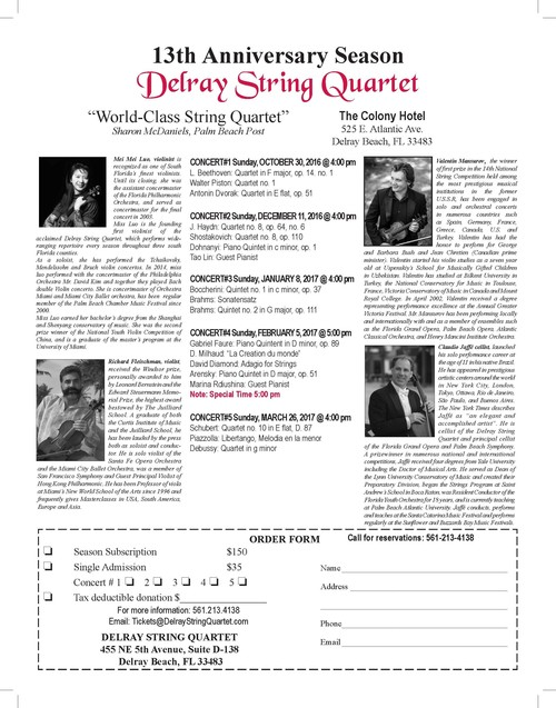 Delray String Quartet 2016-2017 Season