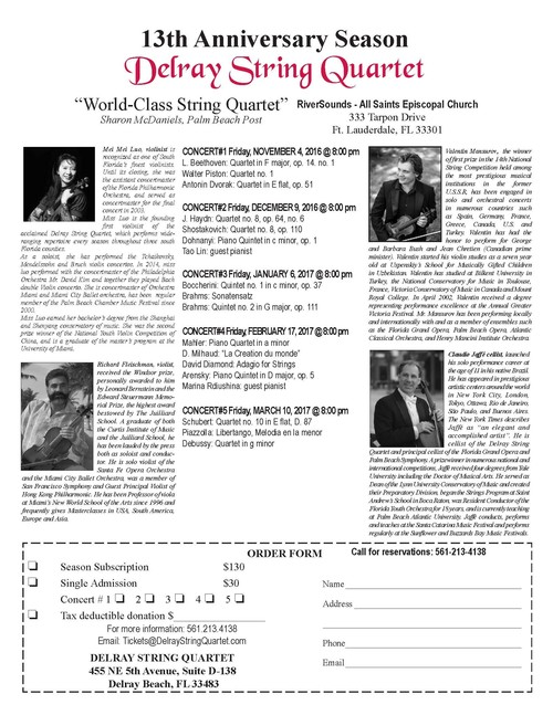 Delray String Quartet Season 2016-17