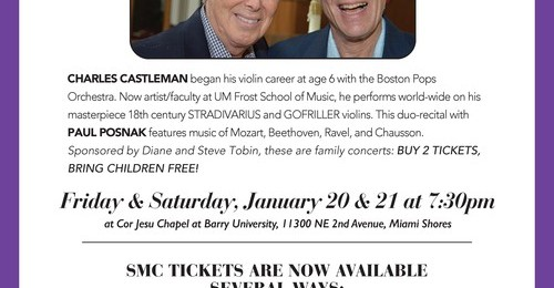 Saint Martha Concerts Violinist Charles Castleman and Pianist Paul Posnak January 20 & 21