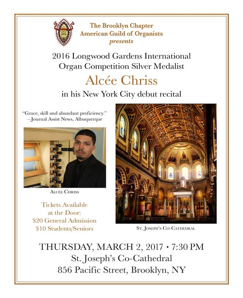 Alcée Chriss New York debut recital at St. Joseph's Co-Cathedral