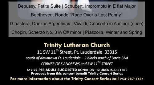 Duo Beaux Arts, Catherine Lan, piano and oboe Tao Lin, piano, performing Sunday, April 22, 4pm, Trinity Lutheran Church, Ft. Lauderdale