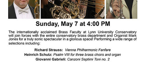 The Pink Church Spire Series First Presbyterian Church of Pompano Beach BRASS BLAST  May 7 at 4 pm