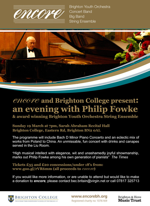 encore and Brighton College present: An evening with Philip Fowke