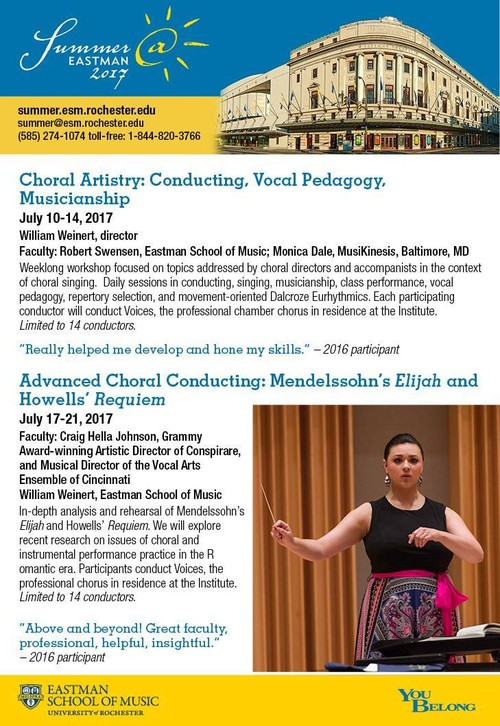 Summer@Eastman: Choral conducting workshops for Summer 2017