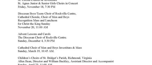 St. Agnes Cathedral Music Ministry Rockville Centre, New York With Organ & Voice:  Special Music Events at the Cathedral