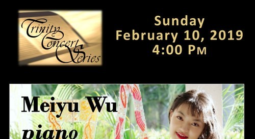 Meiyu Wu, piano, performing Chopin, Haydn, and Debussy at Trinity Concert Series