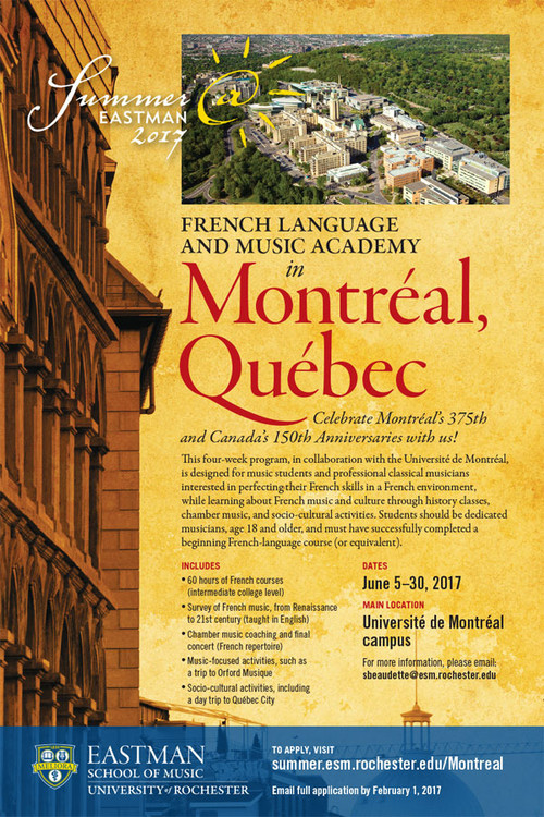 Summer@Eastman: French Language and Music Academy (a study abroad course in Montréal, Canada