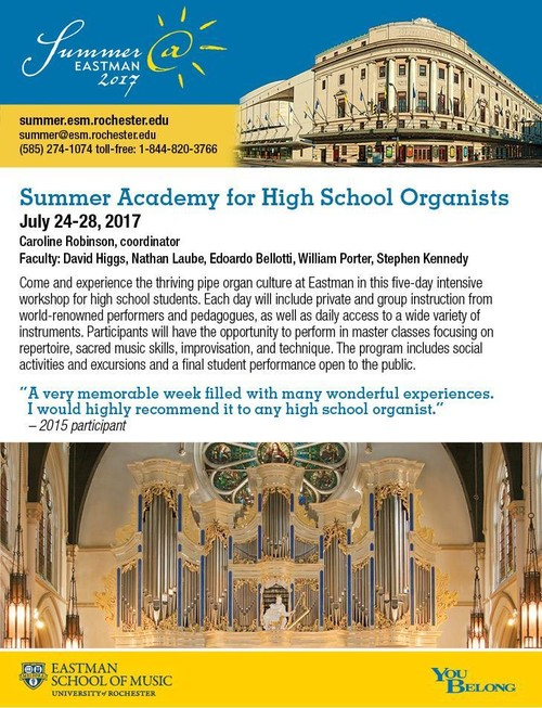 Summer Academy for High School Organists