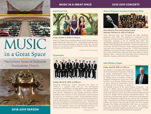 Shadyside Presbyterian Church Announces 2018-2019 Music in a Great Space Concert Dates