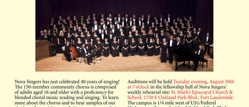 NOVA Singers:  Audition for the Choir Fort Lauderdale August 30