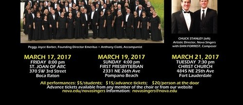 The Nova Singers presents the South Florida Premier of Dan Forrest's Jubilate Deo: March 17 (Boca Raton), 19 (Pompano Beach) and 21 (Ft. Lauderdale), choir, dan forrest