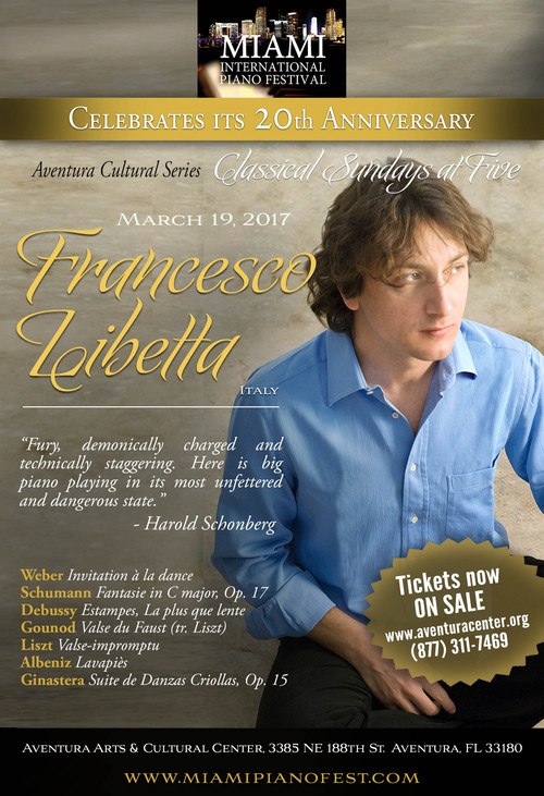 Sunday, March 19, Astonishing pianist FRANCESCO LIBETTA performs in Aventura