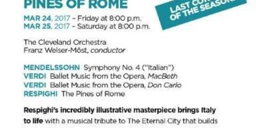 Cleveland Orchestra of Miami presents Pines of Rome - last concert of the season! Adrienne Arsht Center, Mar 24 & 25