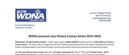 Oct 27 - Mar 29, 7pm: WDNA presents Jazz History Lecture Series 2015-2016
