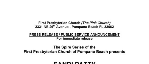 Sandi Patty in concert First Presbyterian Church of Pompano Beach  March 9, 7:30 p.m.