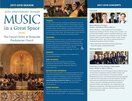 Shadyside Presbyterian Church's Music in a Great Space Concert Series Celebrates 25th Anniversary with 2017-2018 Season