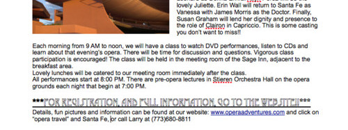 Opera, Opera Travel, Education, Santa Fe Opera