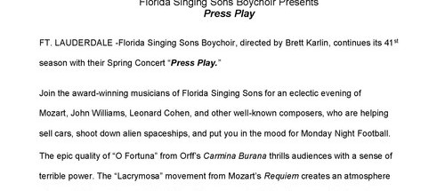 Florida Singing Sons Boychoir Presents Press Play, Saturday, May 7, 7:30 pm, Davie