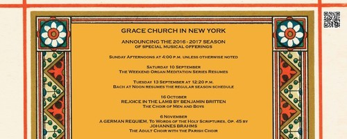 Grace Church in New York  2016-2017 Season of Special Musical Offerings  Sunday Afternoons at 4 pm